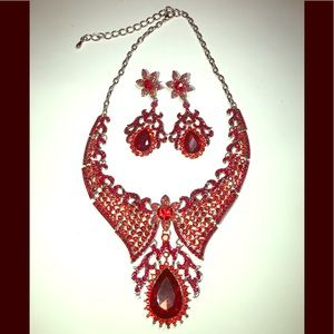 Jewelry - Red/silver chain necklace and earring set